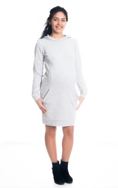 Be MaaMaa Tehotenské / dojčiace šaty Anais s kapucňou, dlhý rukáv - sv. sivé, veľ. M