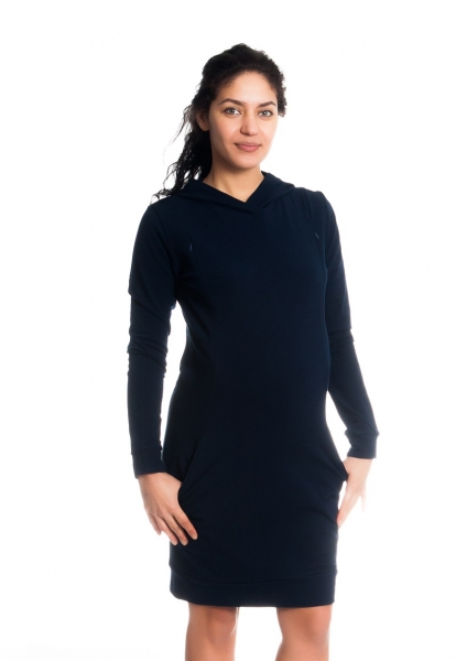 Be MaaMaa Tehotenské / dojčiace šaty Anais s kapucňou, dlhý rukáv - granátové, veľ. M