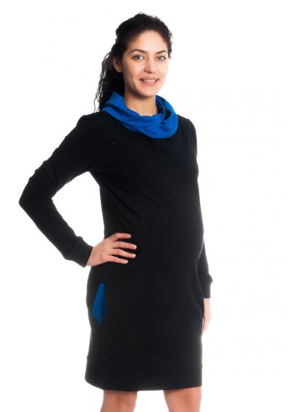 Be MaaMaa Teplákové tehotenské / dojčiace šaty Eline, dlhý rukáv - čierne