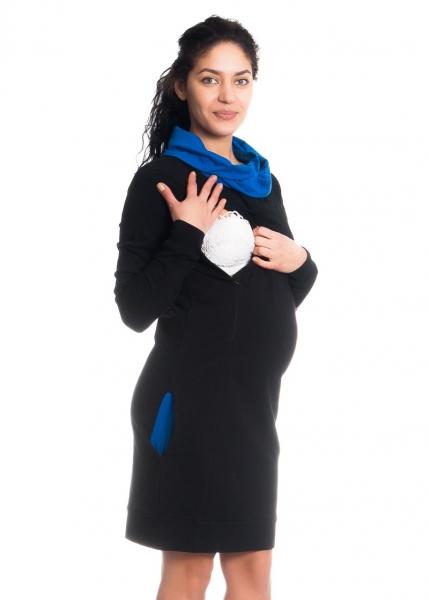 Teplákové tehotenské / dojčiace šaty Eline, dlhý rukáv - čierne