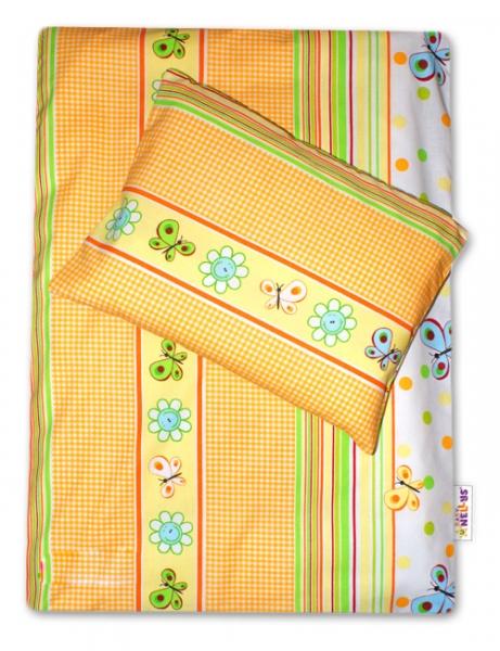 Baby Nellys 4-dielna súprava do kočíka - lúka pomarančová s kostičkou