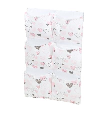 Mamo Tato Vreckár 40 x 65 cm - Srdiečka ružové/biele
