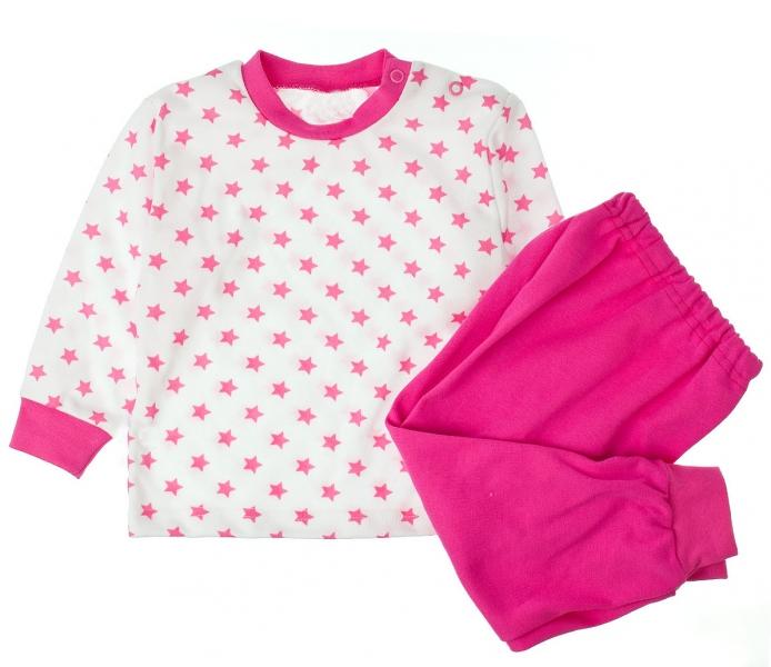 MBaby Bavlnené pyžamko amarantove hviezdičky - biele-80 (9-12m)