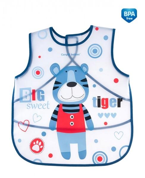 Canpol babies Plastový zásterka s vreckom Puppets - modrá