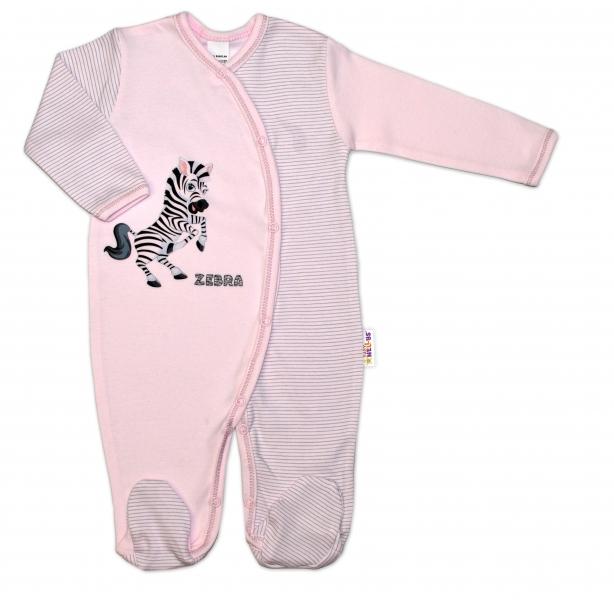 Bavlnený overal Zebra, veľ. 62 - ružová prúžky