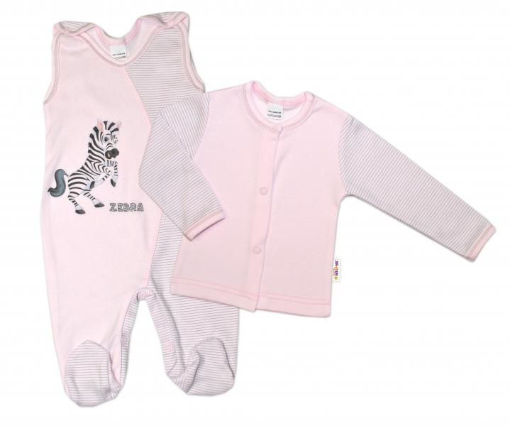 Baby Nellys 2-dielna dojčenská sada Zebra, veľ. 74 - ružová-74 (6-9m)