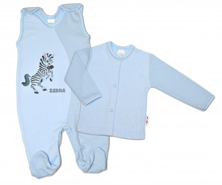 2-dielna dojčenská sada Zebra, veľ. 62  - modrá-62 (2-3m)