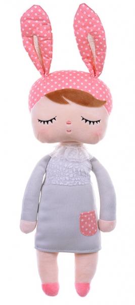 Handrová bábika Metoo s uškami v sivých šatičkách, 42cm