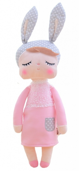 Handrová bábika Metoo s uškami v růžových šatičkách, 42cm