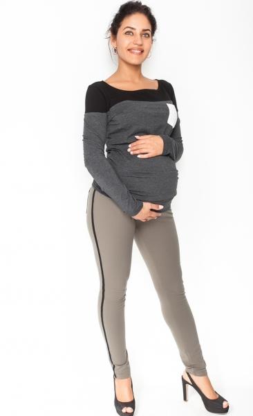 Tehotenské úpletové nohavice s pásom na boku - khaki empty 38fb870222d