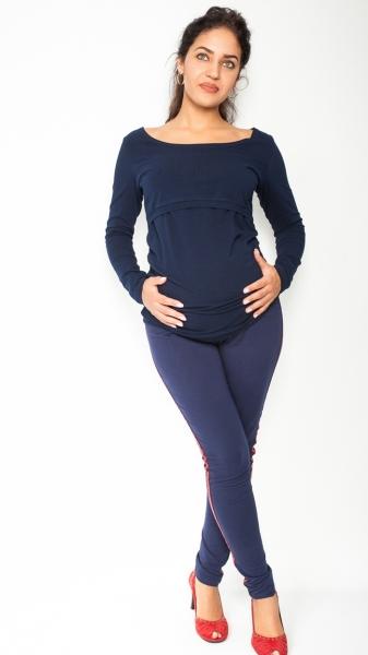 Tehotenské úpletové nohavice s pásom na boku - granátové empty 42c2c42ee84