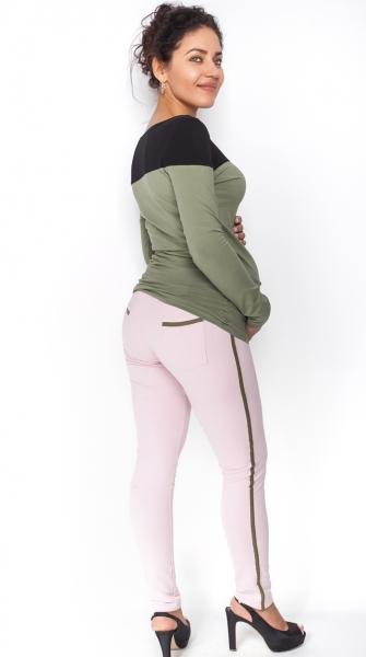 Tehotenské úpletové nohavice s pásom na boku - sv. ružové