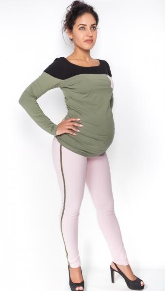 Be MaaMaa Tehotenské nohavice z lampasem - sv. růžové, veľ. S