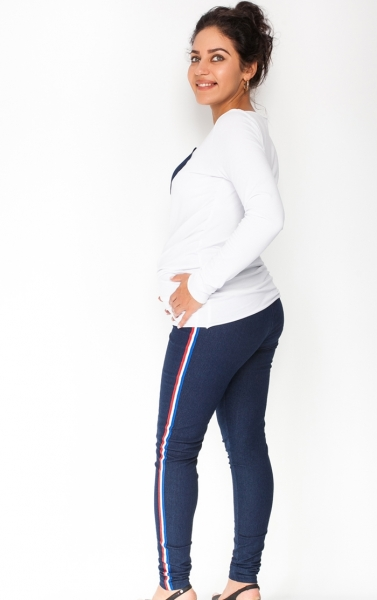 d057fb68c4 Be MaaMaa Tehotenské nohavice jeans z lampasem - granátové