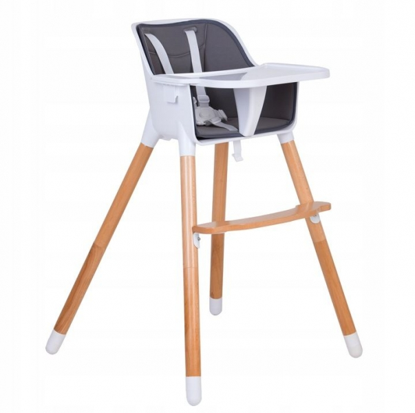 Eco toys Luxusný jedálenský stolček 2v1, 2019 - sivý, biely