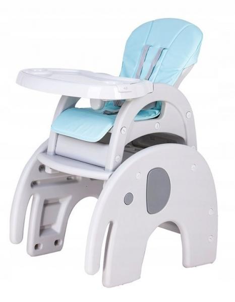 Eco toys Jedálenský stolček 3v1 Slon, 2019 - šedý, sv. modrý