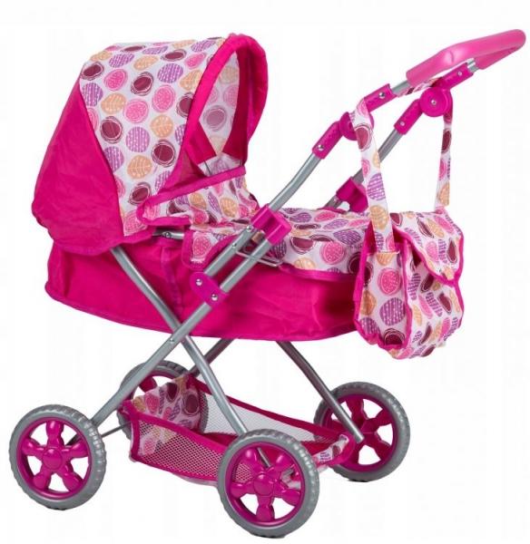 Eco toys Hlboký kočík pre bábiky - tm. ružový