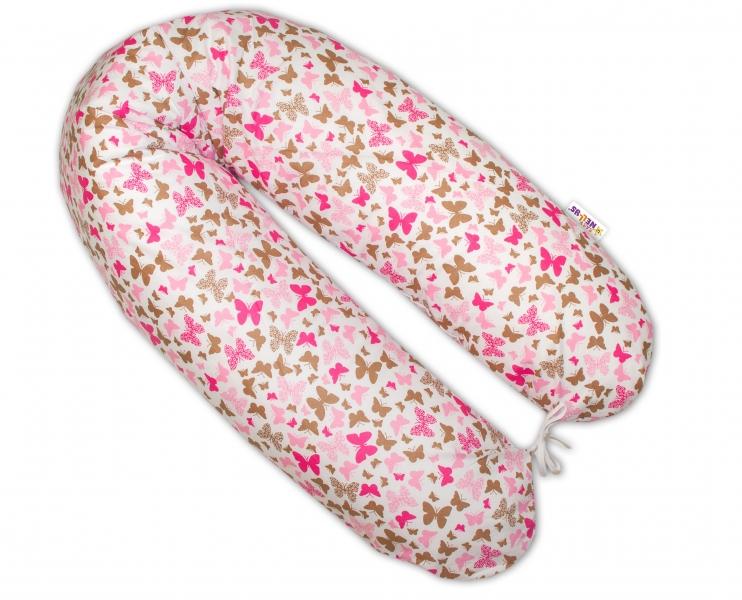 Dojčiaci vankúš - relaxačná poduška - Motýliky ružový