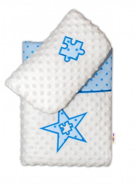 Baby Nellys Sada do kočíka Mini stars Mink - modrá