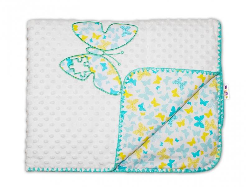 Baby Nellys Luxusná deka Motýliky Minky - žltá, modrá