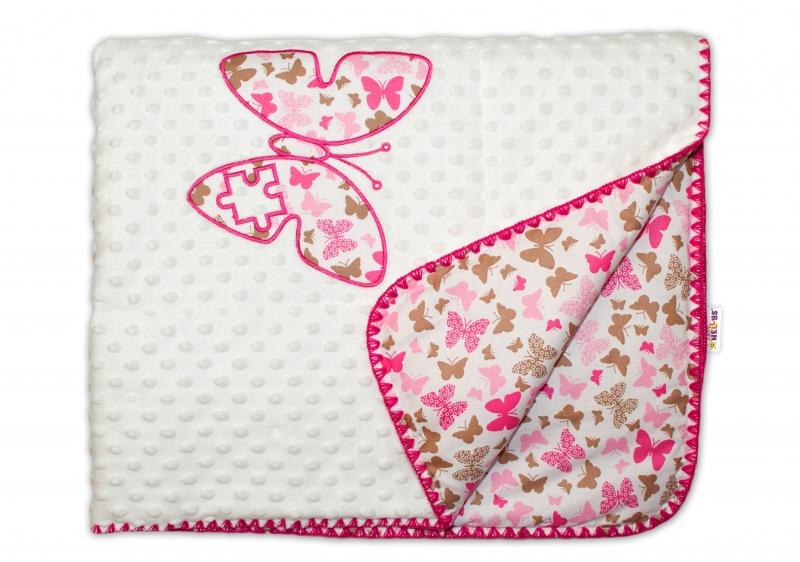 Baby Nellys Luxusná deka Motýliky Minky - ružový