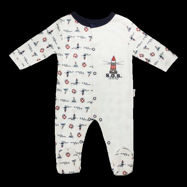 Dojčenský bavlnený overal Maják, biely-56 (1-2m)
