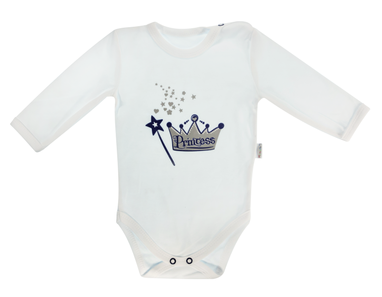 e4b4e511e Dojčenské body Princezna - dlhý rukáv, biele, veľ.