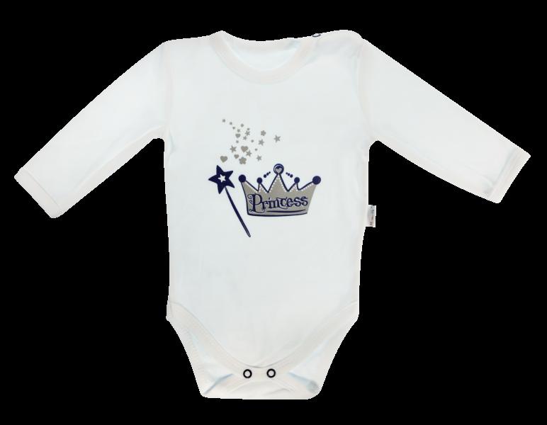 Dojčenské body Princezna - dlhý rukáv, biele, veľ. 86
