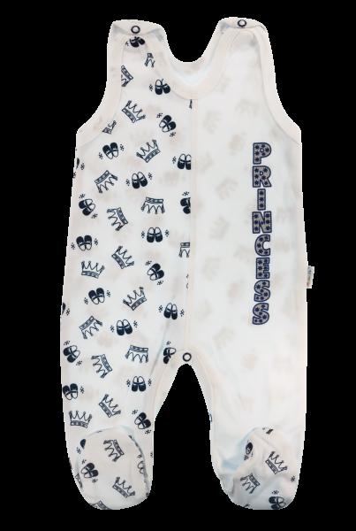 Mamatti Dojčenské bavlnené dupačky Princezná, granátové korunky, veľ. 68-68 (4-6m)