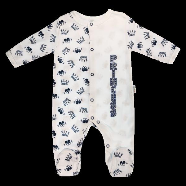 Dojčenský bavlnený overal Princezná, granátové korunky, veľ. 62-62 (2-3m)