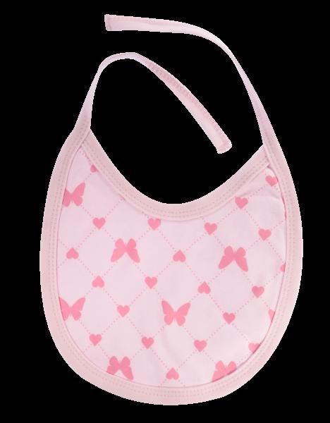 Mamatti Podbradník bavlna Motýlik srdiečko, růžový