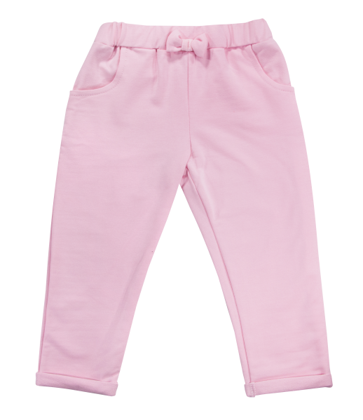 Mamatti Bavlnené tepláčky s mašličkou a kapsami Motýlik srdiečko, růžové, veľ. 92-92 (18-24m)
