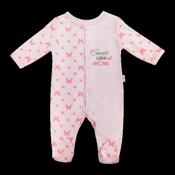 Dojčenský bavlnený overal Motýlik srdiečko, růžový-56 (1-2m)