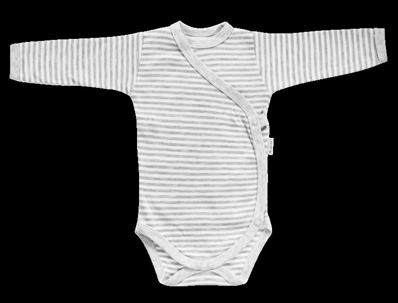 Body Gentleman - dlhý rukáv - zapínanie bokom - sivé, veľ. 62-62 (2-3m)