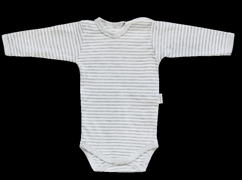 Dojčenské body Gentleman - dlhý rukáv, sivé, veľ. 80-80 (9-12m)