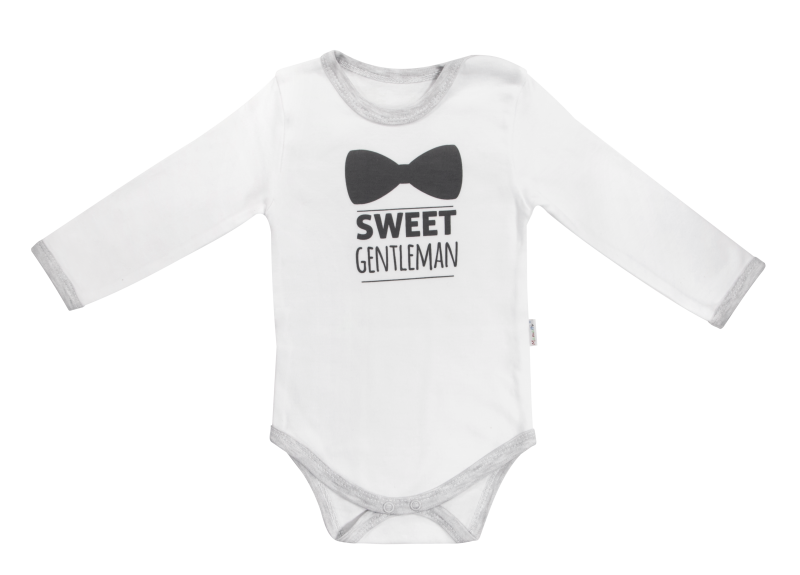 Dojčenské body Gentleman - dlhý rukáv, biele, veľ. 74-74 (6-9m)
