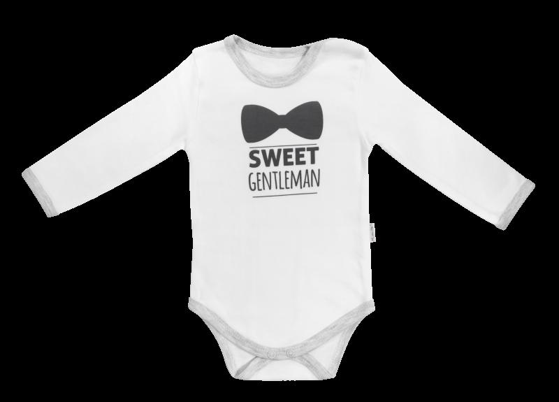 Dojčenské body Gentleman - dlhý rukáv, biele, veľ. 80-80 (9-12m)