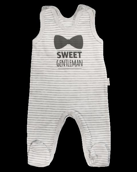 Dojčenské bavlnené dupačky Gentleman, sivé, veľ. 56