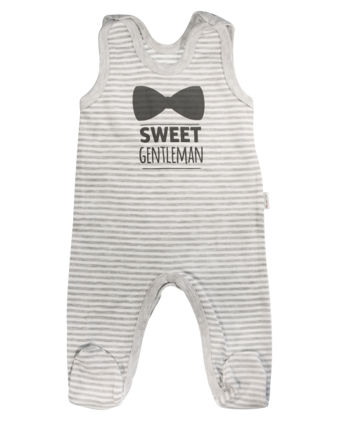 Dojčenské bavlnené dupačky Gentleman, sivé, veľ. 68-68 (4-6m)