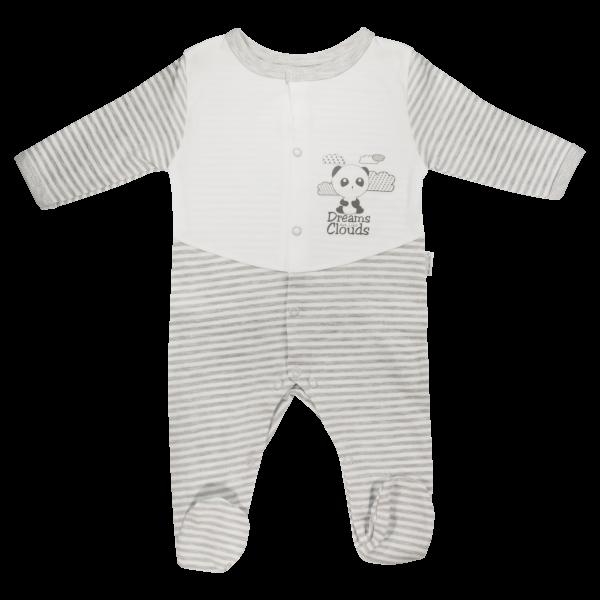 Dojčenský bavlnený overal Gentleman, sivý, veľ. 62-62 (2-3m)