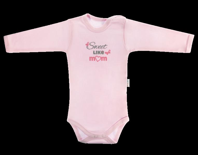 Mamatti Dojčenské body Motýlik srdiečko - dlhý rukáv, růžové, Sweet like mum, veľ. 74