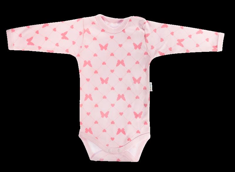 Mamatti Dojčenské body Motýlik srdiečko - dlhý rukáv, růžové-68 (4-6m)