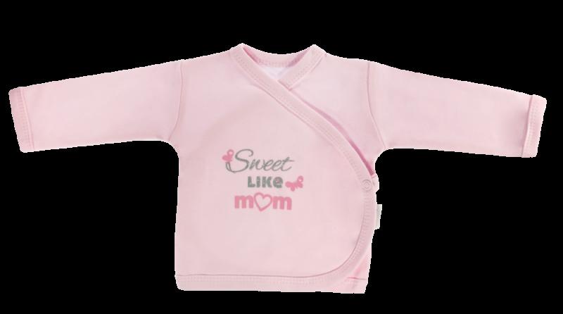 Novorodenecká košieľka Motýlik srdiečko - zapínanie bokom, růžová, Sweet like mum, veľ. 62-62 (2-3m)