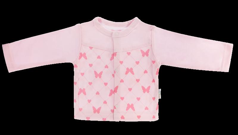 Mamatti Bavlnená košieľka Motýlik srdiečko - růžová, veľ. 62-62 (2-3m)