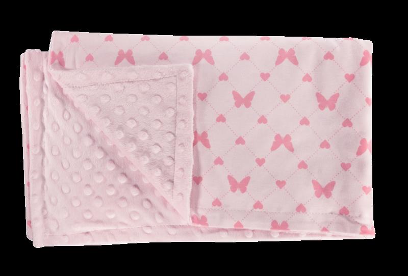 Detská deka, dečka Motýlik srdiečko, 75x90 - Minky/bavlna, růžová