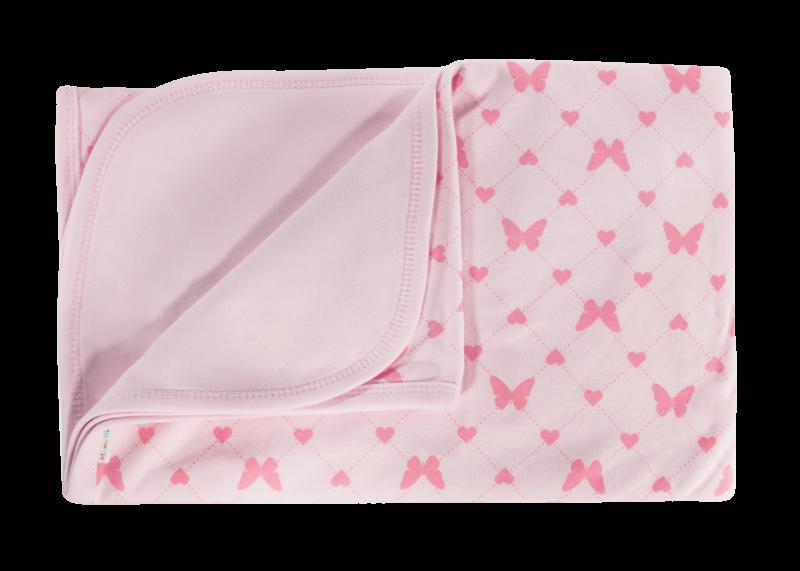Detská deka, dečka Motýlik srdiečko, 80x90 - bavlna, růžová