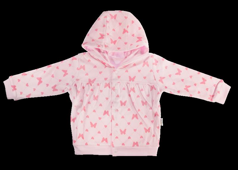 Mikinka Motýlik srdiečko - zapínanie uprostred, růžová, veľ. 68-68 (4-6m)