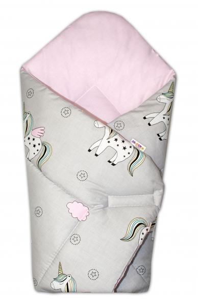 Novorodenecká zavinovačka Jednorožec, sivá/vnútro ružové
