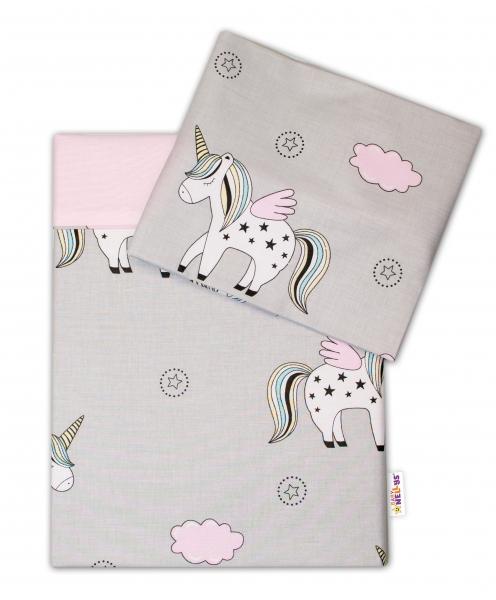 2-dielne bavlnené obliečky Jednorožec - sivé, 120x90 cm