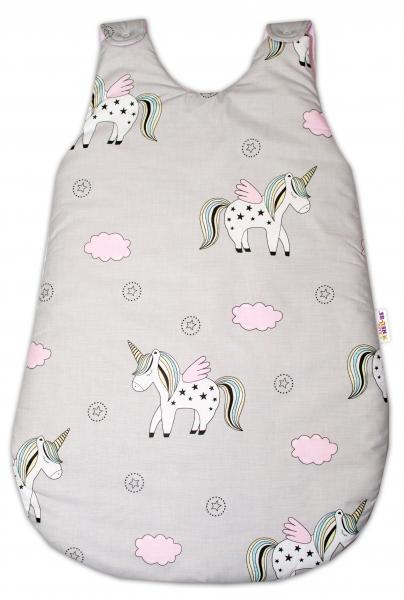 Bavlnený spací vak Jednorožec - sivý